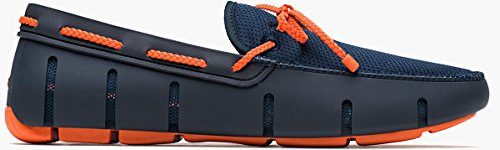 SWIMS Braided Lace Loafer In Navy/Orange, Size 10.5 by SWIMS