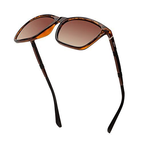 Men's Polarized Driving Sunglasses Retro Square Aluminum magnesium Alloy Temple Sun Glasses Unbreakable Spring Hinges Eyewear UV400 (Double Brown Lens/Leopard Frame) (Brown Glass Lens)