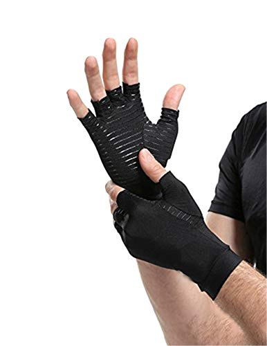 Copper Compression Recovery Health Rehabilitation Gloves Black Motion Fingerless Arthritic Gloves 1 Pair (S)