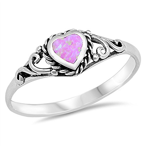 - Pink Simulated Opal Antiqued Filigree Purity Ring .925 Sterling Silver Band Size 4