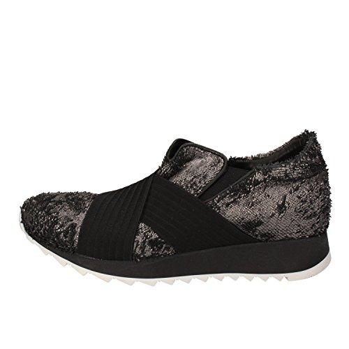Sneakers Textile Silver US ANDIA 36 EU Leather AD326 FORA Fashion 6 Black Women's qZnZHtYaU