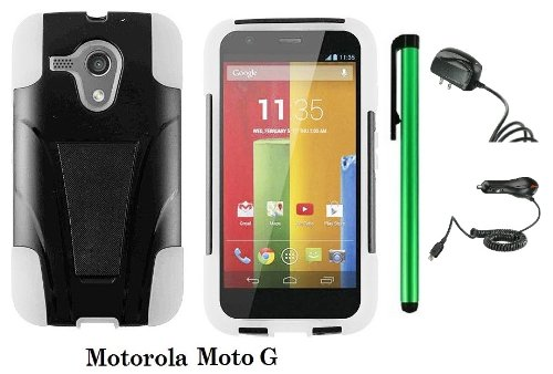 Motorola MOTO G (VERIZON, BOOSTMOBILE) Premium T-stand Protector Hard Case Cover + Travel (Wall) Charger & Car Charger + 1 of New Metal Stylus Touch Screen Pen (WHITE / BLACK) - First Motorola Flip Phone