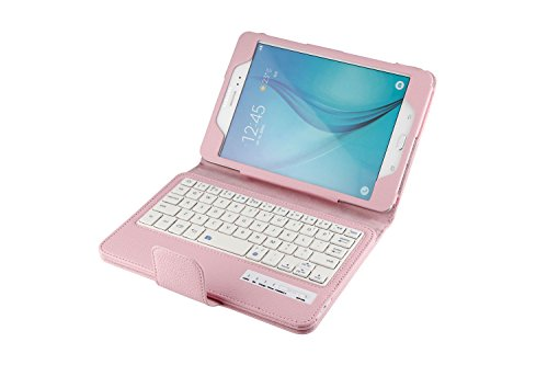 Samsung Galaxy Tab A 8.0 SM-T350 Tablet Keyboard Leather Case, Folio PU Case Bluetooth Built-in Stand Removable Keyboard Case Cover with Auto Sleep/Wake SM-T350/T355/P350/P355 (2015) (Pink)