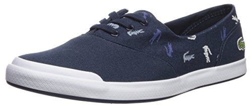 Lacoste Women's Lancelle 3 Eye Sneaker, Navy Logo, 6.5 Medium (Lacoste Crocodile Logo)