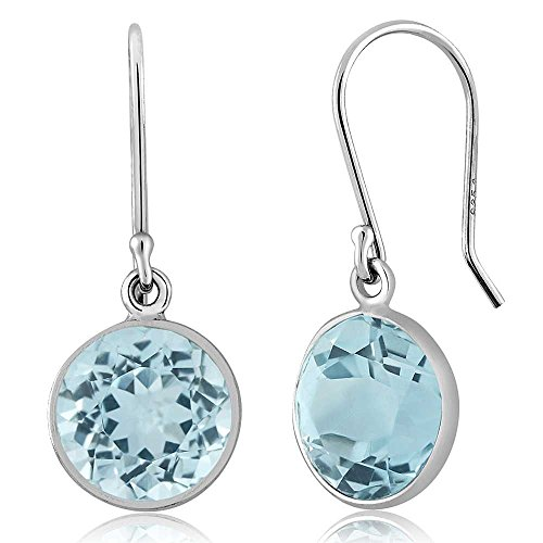 - Gem Stone King 925 Sterling Silver Blue Topaz Dangle Earrings 6.50 Ctw Gemstone Birthstone 9MM Round