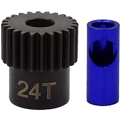 Hot Racing NSG824 24t Steel 48p Pinion Gear 5mm or 1/8: Toys & Games