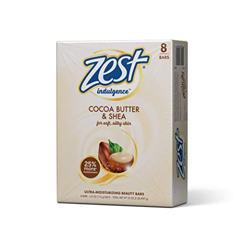 Zest Creamy Cocoa Butter & Shea Moisture-Rich Bar Soap, 4 oz, 8 count