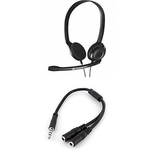 🥇 Sennheiser PC 3 CHAT – Micro-auriculares supraurales de tipo diadema estéreo +  Adaptador Divisor para Auriculares y Micrófono de 3