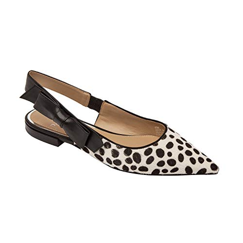 - Linea Paolo Darcy | Bow Adorned Pointy Toe Wide Slingback Leather Flat White/Black Freckle Hair Calf/Nappa 12M