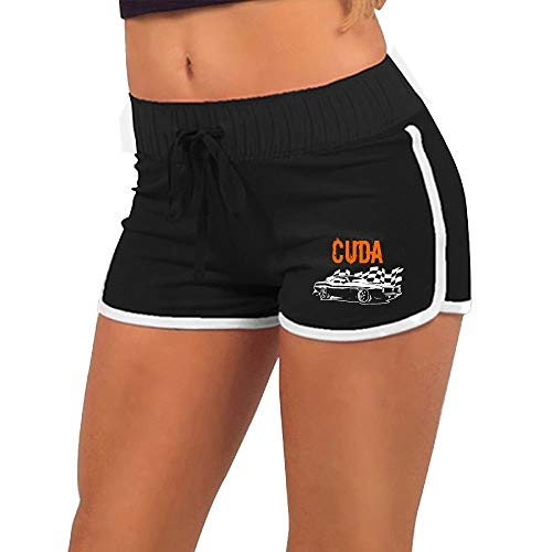 Trikahan Womens Mopar - Plymouth Cuda - Barracuda Black Skinny Gym Adjustable Low Waist Hot Shorts Funny Cotton ()
