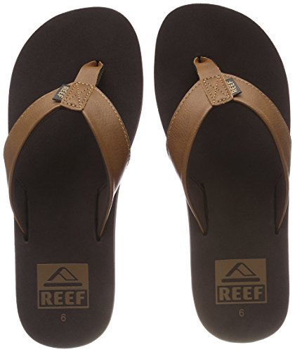 Reef Men's Sandal Twinpin | Comfortable Men's Flip Flop With Vegan Leather Upper, Brown, 11