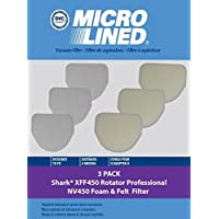 DVC Micro-Lined Shark Foam & Felt Filter Kit 3+3 | Filter # XFF450 for use with Shark Rotator Professional Series Model NV450, NV472, NV480
