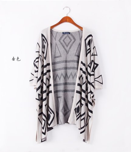 Women Boho Drape Open Sweater Wrap Knit Cardigan Trench Loose Blouse-Beige (One Size)