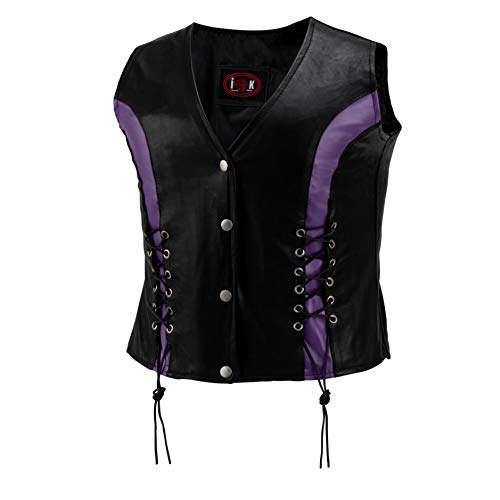 TNC Black Womens Leather Motorcycle Biker Ladies Vest with Front Lacing Purple/Violet Accents - Satin Lined, Lightweight and Beautiful (2X, Black/Purple)