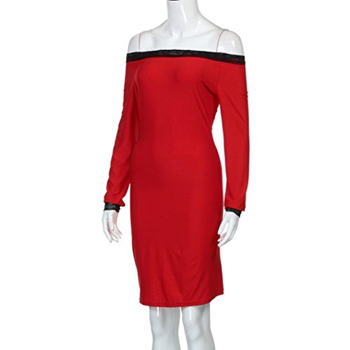Kanpola Kleid Frauen aus Schulter Spitze Partei Rot 9rrszMOL ...