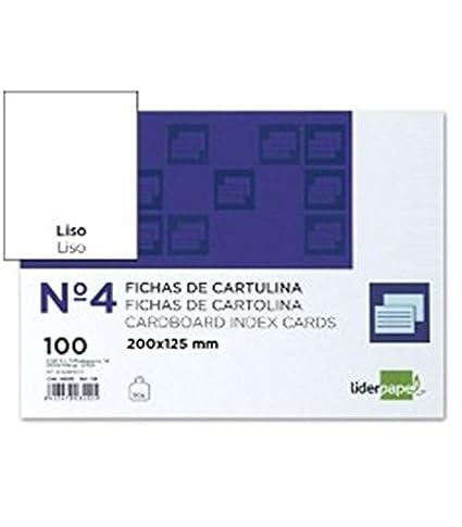 Liderpapel Ficha Lisa Nº 4 125X200Mm Paquete De 100 180 g/m²