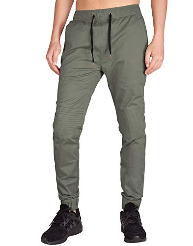 ITALY MORN Men's Chino Jogger Skateboard Pant Twill Athletic Fit (XS, Grey Green) ()