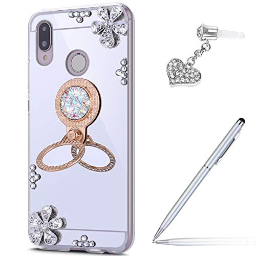 Price comparison product image Case for Huawei P20 Lite Diamond Case, Crystal Inlaid diamond Flowers Rhinestone Diamond Glitter Bling Mirror Back TPU Case & Ring Stand + Touch Pen Dust Plug for Huawei P20 Lite Mirror Case, Silver