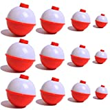JSHANMEI Hard Snap-On Floats Bobbers Red and White Fishing Stoppers 1Inch/1.25Inch/1.5Inch/2Inch (1.5Inch-10pcs)