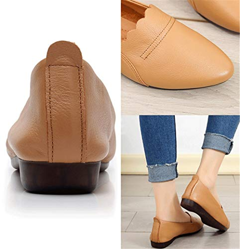 shoes autumn flat low EU and shoes Spring casual work 40 pointed shoes heeled shallow leather shoes FLYRCX mouth ladies AvEHzqH