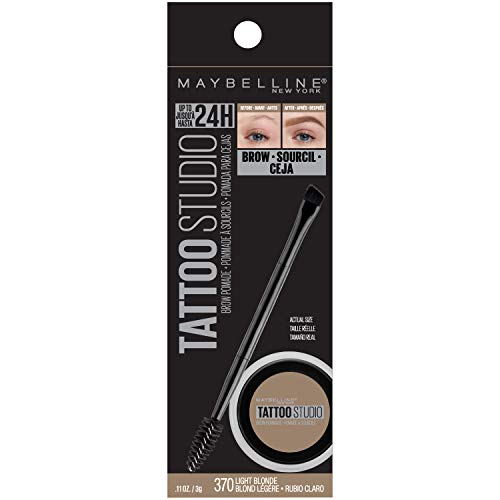 Maybelline New York Tattoostudio Brow Pomade Long Lasting, Buildable, Eyebrow Makeup, Light Blonde, 0.106 Ounce