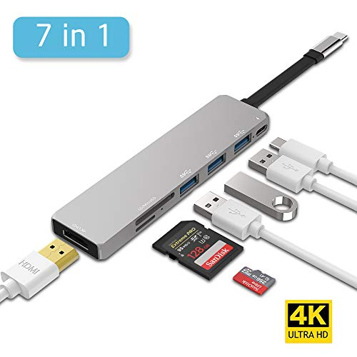 USB C Hub 7 IN 1, Inpher USB Type C 3.1 Adapter Dock with 60W PD Fast Charge 4K HDMI Output SD Card Reader 3 USB 3.0 Ports for MacBook Pro ChromeBook Type C Windows Laptops Samsung Note8 S8 S9 S9+ Dex