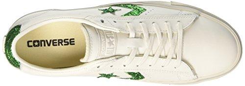 Distressed Vulc Star Converse Basso Collo Turtledove a Pro Sneaker White Leather Emerald Bianco Donna Ox UqUt4