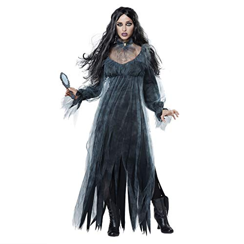 KLFGJ Women Halloween Cosplay Horror Costume Vintage Witch Long Sleeve Maxi Dresses Long Dress ()