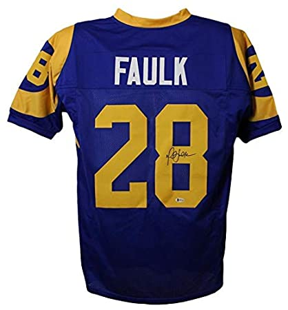 ab2dba317cda Image Unavailable. Image not available for. Color  Autographed Marshall  Faulk Jersey - Los Angeles ...