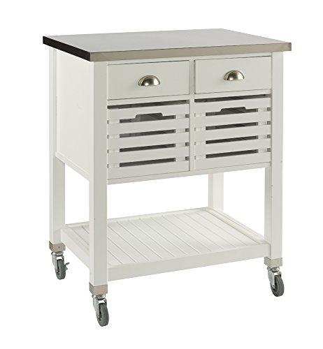 Linon AMZN0267 Hudson White Kitchen Cart, by Linon (Image #3)