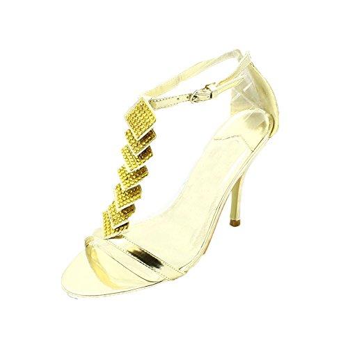 Señoras diamante Partido zapatos / sandalias Gold