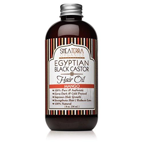Shea Terra Organics Egyptian Black Castor Oil for Hair Growth - Mango | All Natural Hair Treatment - 8 oz