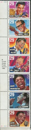 Price comparison product image ROCK & ROLL and RHYTHM & BLUES ~ ELVIS PRESLEY ~ BUDDY HOLLY ~ RITCHIE VALENS ~ BILL HALEY ~ DINAH WASHINGTON ~ OTIS REDDING ~ CLYDE MCPHATTER 2730a Strip of 7 x 29¢ US Postage Stamps