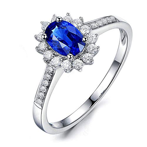MoAndy Wedding Rings for Women Sterling Silver Jewelry Oval Shape Blue Sapphire Halo Engagement Ring Size 7.5