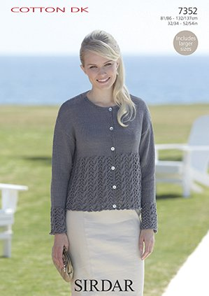 2c6a98b221a6 Sirdar Cotton DK Knitting Pattern - 7352 Cardigan  Amazon.co.uk  Kitchen    Home