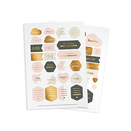 Charuca ST05 - Set de pegatinas con diseño Motivadoras Gold, color oro