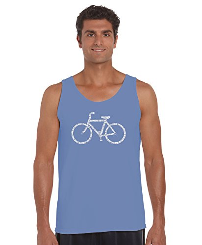 Los Angeles Pop Art Men's Word Art Tank Top - Save A Planet, Ride A Bike- LA Pop - Planet Angeles Blue Los