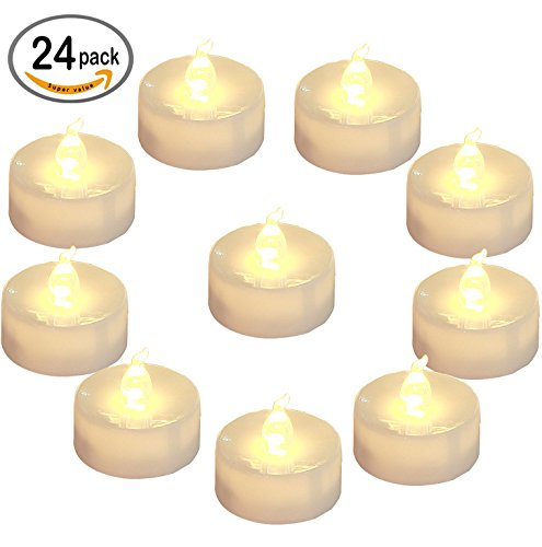 [Homemory Battery LED Tea Lights, Pack of 24, Flameless Tealight Candle with Warm White Flickering Light, Dia 1.4'' Electric Fake Candle for Votive, Wedding, Party, Table, Diningroom, Gift] (Candle Table Decorations)