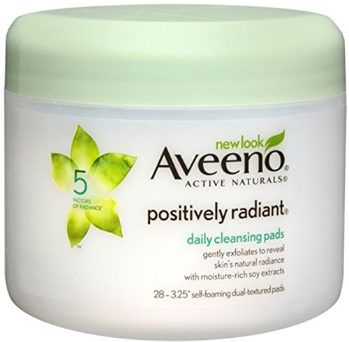 Aveeno Positively Radiant Exfoliating Daily Cleansing Pads, 28 Count, (Pack of 3) by Aveeno