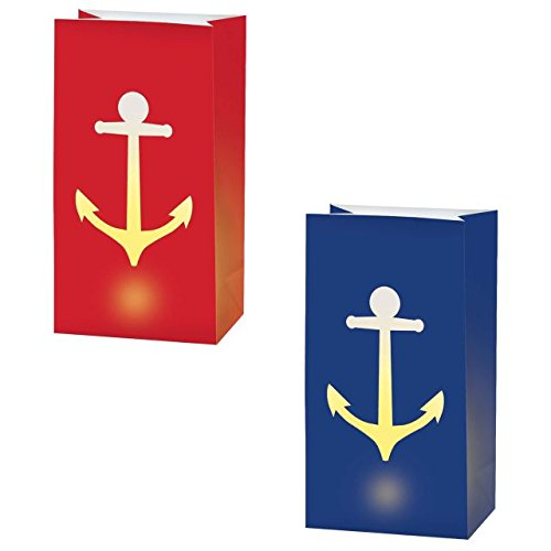 Amscan 170329 Anchor's Aweigh Nautical Party LED Luminaries Decoration, Paper, Pack of 6, 11