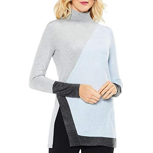 VINCE CAMUTO Womens Colorblock Lightweight Turtleneck Sweater Blue XL ()