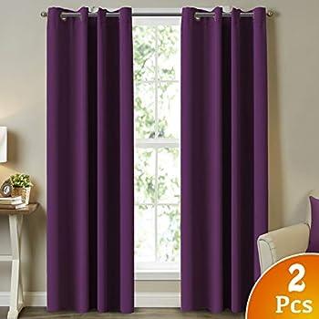 Fancy Linen 4pc Solid Purple Suede Faux Fur Curtain All Sizes New