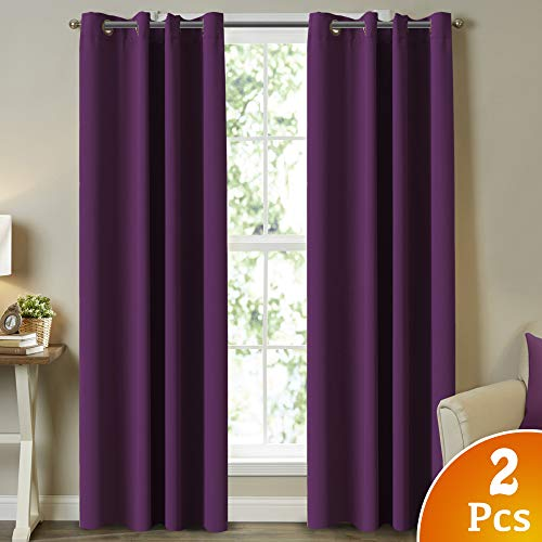 (Turquoize Elegant Grommet Blackout Thermal Insualted Solid Curtains/Drapes Noise Reducing Microfiber Thermal Insulated Window Treatment Curtains Drape 52