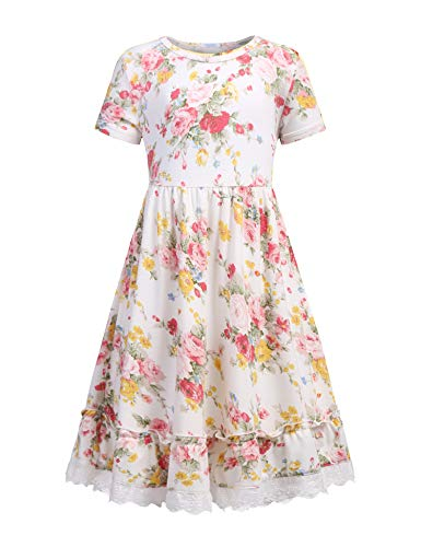 (Balasha Girls Summer Floral Dress Swing Short Sleeve Casual Dresses for White, 130(for 8-9 Years))