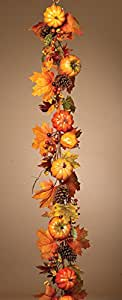 5 Foot Harvest Pumpkin Garland - 60 Inch Long Fall / Thanksgiving Garland - With Pine Cones and Berries