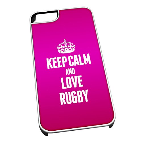 Bianco cover per iPhone 5/5S 0534Pink Keep Calm and Love Rugby
