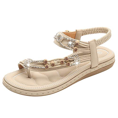 Tantisy ♣↭♣ Women's Crystal Bohemian Sandals/Comfy Soft Roman Shoes/Slip-on Ladies Casual Flat Beach Shoes Khaki]()