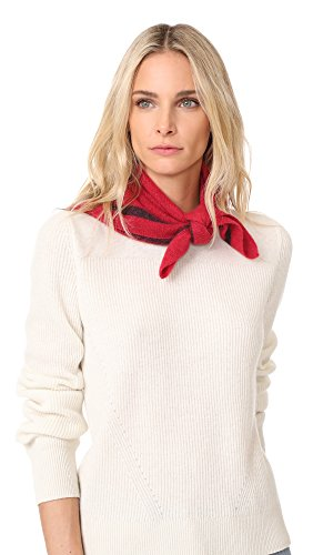White + Warren Women's Cashmere Tipped Neck Scarf, Scarlet/Plum, One Size