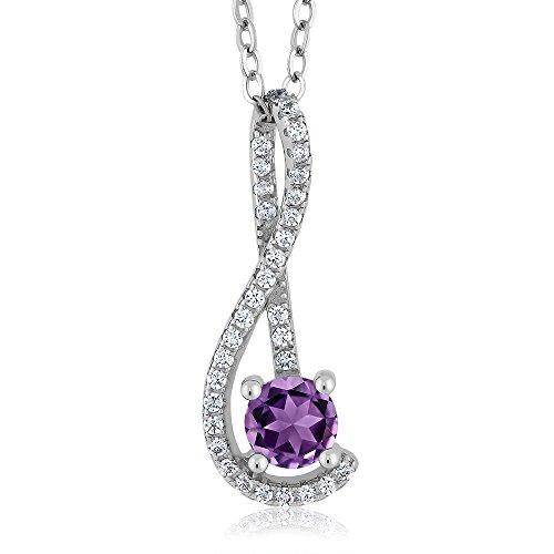 4.32 Ct Round Purple Amethyst White Created Sapphire 925 Sterling Silver Pendant (Round Sapphire Purple)