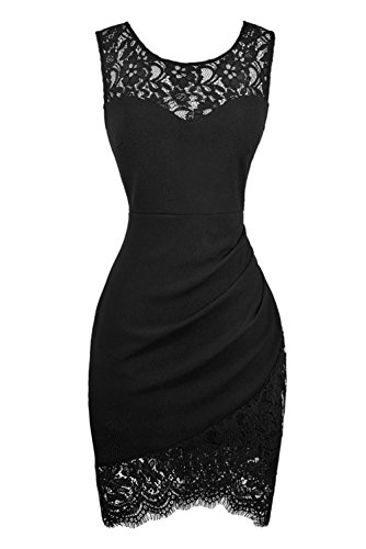 Swiland Women Sleeveless Lace Flora Vintage Black Cocktail Dress For Party